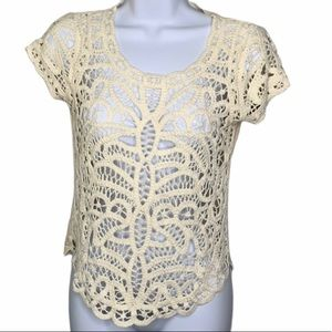 BCBG Cream Crochet Cap Sleeve Top D1 0278